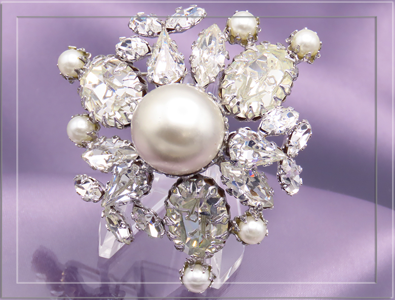 Schreiner Crystal Silver Tone with Pearl Brooch