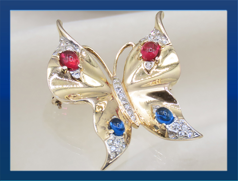 Alfred Philippe Sterling Ruby, Sapphire & Pave Butterfly Brooch Pin.