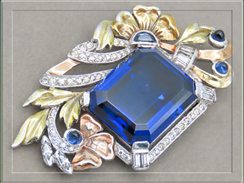 Unsigned Regal Sapphire Glass Brooch